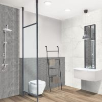 Interior design of a modern bathroom. White plumbing on the background of contrasting, black and white walls.