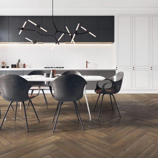 Dlažba Laroya Brown 17×89 obývací pokoj