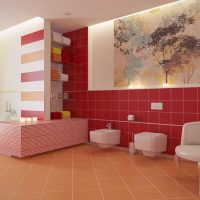 Koupelna Happy červená dekor 20x20