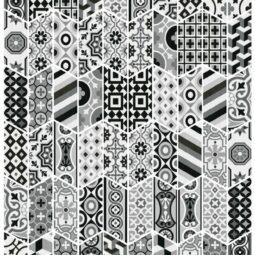 Dlažba Chevron Floor Patchwork B&W Izquierdo 9x20,5