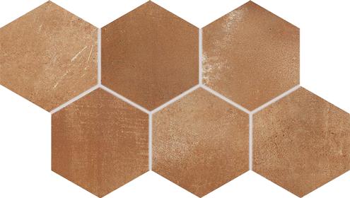 Dlažba Via brown hexagon 21×37
