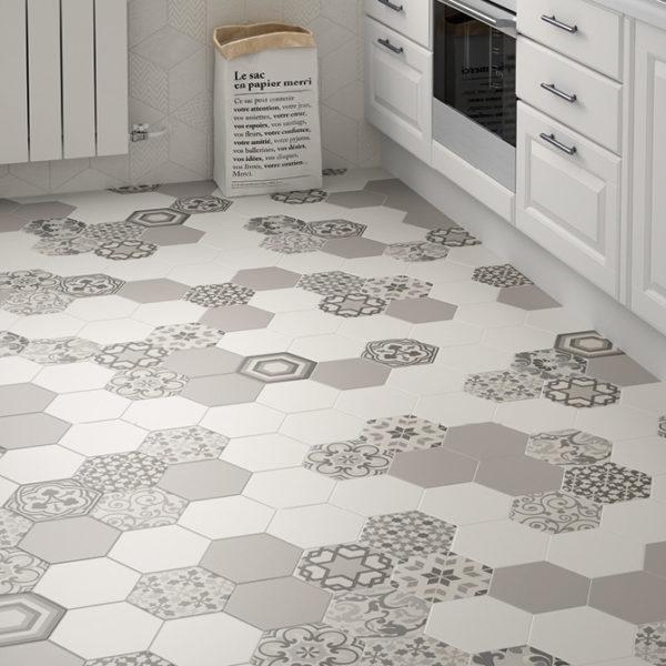 Hexatile Harmony B&W 17,5×20 kuchyně
