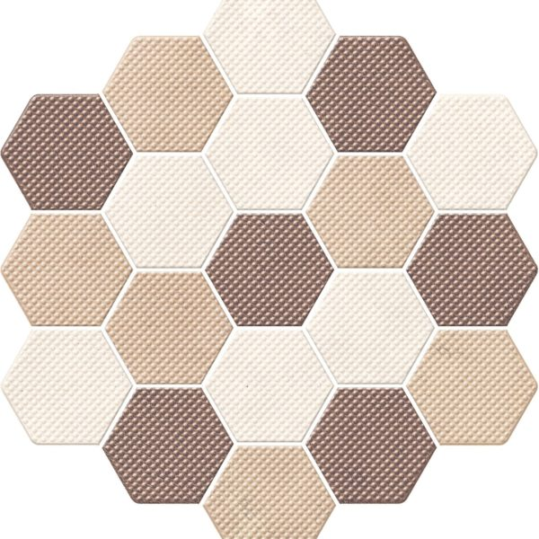 Dlažba Trail Mix-Marron dekor hexagon 21,3×23,1