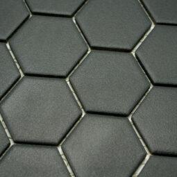Keramická glazovaná mozaika hexagon černá_2