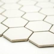 Keramická glazovaná mozaika hexagon bílá