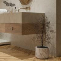 Dlažba imitace dřeva Grapia Sabbia koupelna